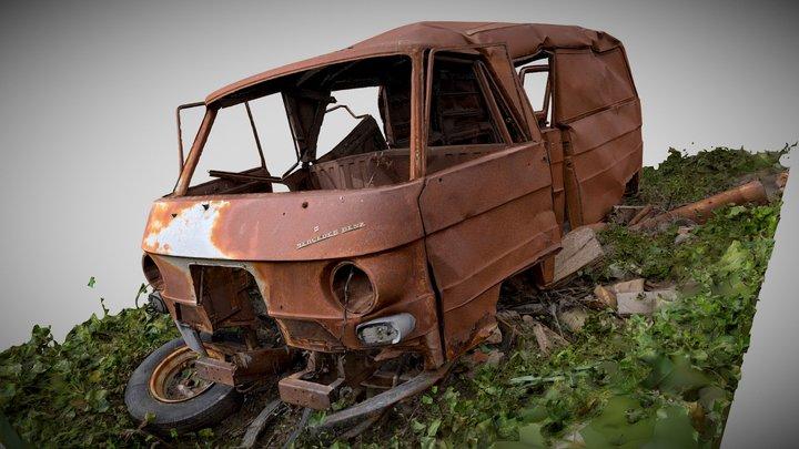 Rusty old Mercedes Benz van 3D Model