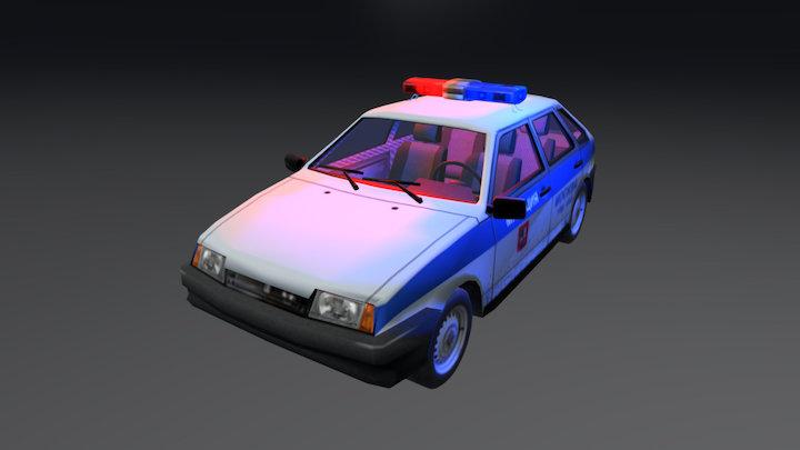 Vaz 2109 Police 3D Model