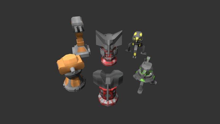 Turrets In Tech Wars 3D Model