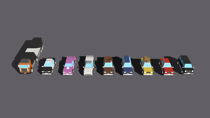 Low poly cars 3D Model