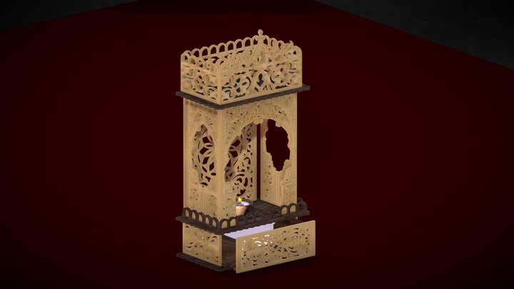 Ornamented tealight with drawer 3D Model