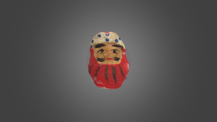 鉢巻達磨(papier-mâché:daruma doll with a headband) 3D Model