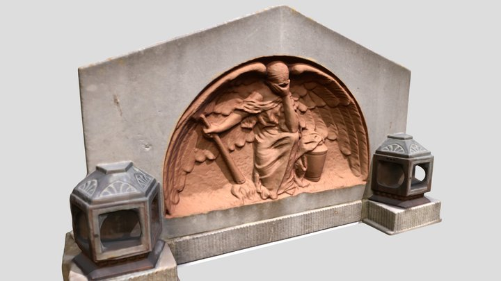 Weeping Angel relief from gravestone 3D Model