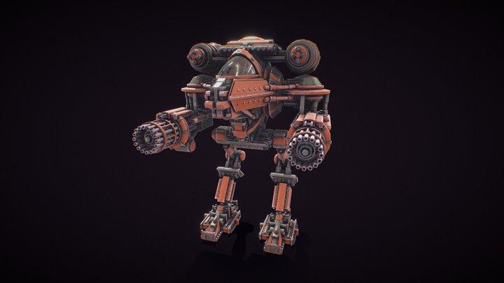 Battle Mech of Primitive Shapes (Textured) 3D Model