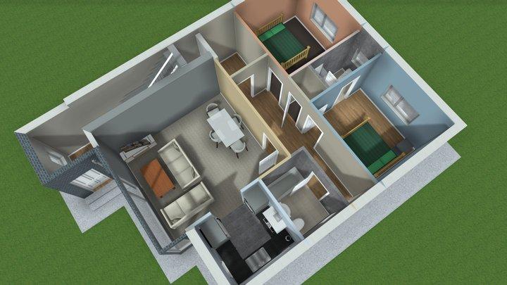 Duplex - Grd Floor plan 3D Model