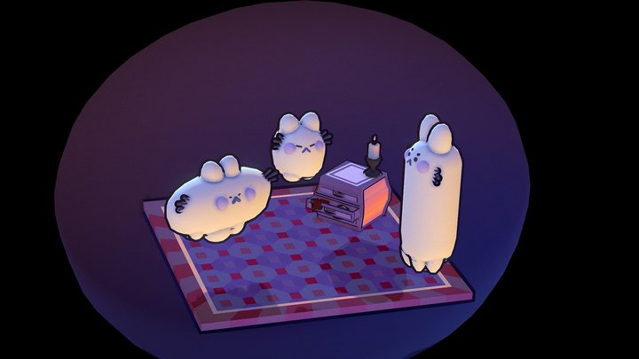 Ghost Kitties - Lowpoly 3D Model