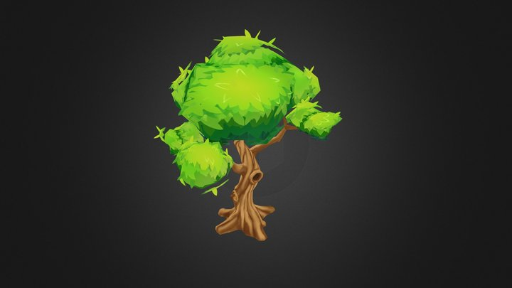 Hand-Painted Fantasy Tree #2 3D Model