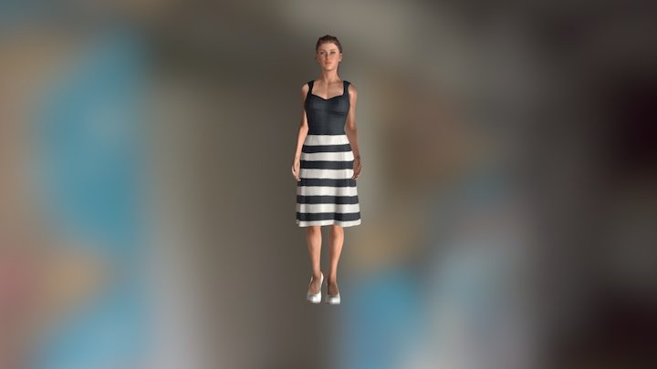 Female Character with Soft-cloth Animation 3D Model