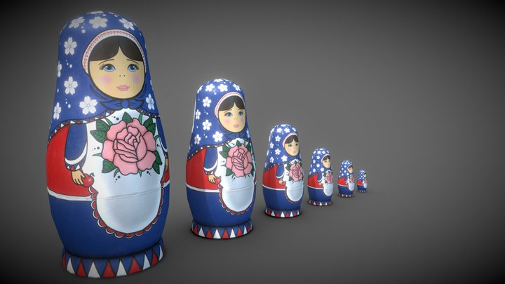 Handpainted Russian Matroshkas 3D Model
