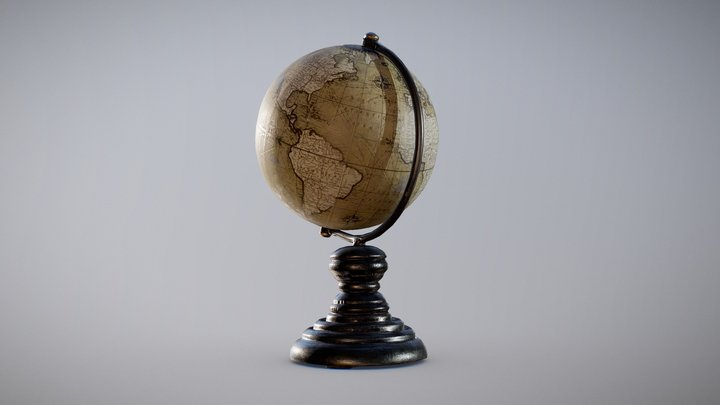 Antique Globe on Stand 3D Model
