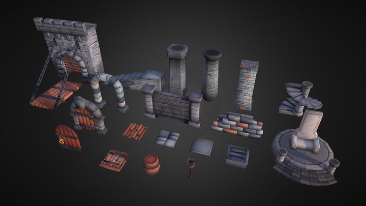 Lowpoly Dungeon - Essentials Pack 3D Model
