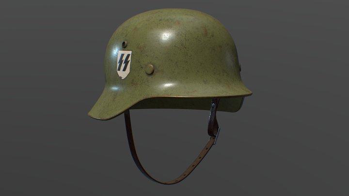 Nazi M35 Waffen-SS Helmet 3D Model