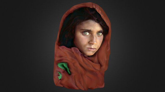 """"""" Afghan girl """" low poly , bottomless 3D Model"""
