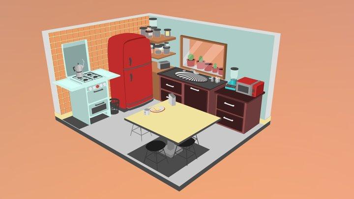 Lowpoly kitchen 3D Model
