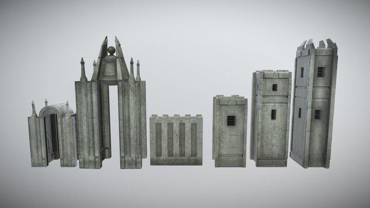 Medieval castle kit (MUD) 3D Model