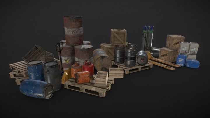 Industrial Warehouse Pack Vol1 - Low Poly 3D Model