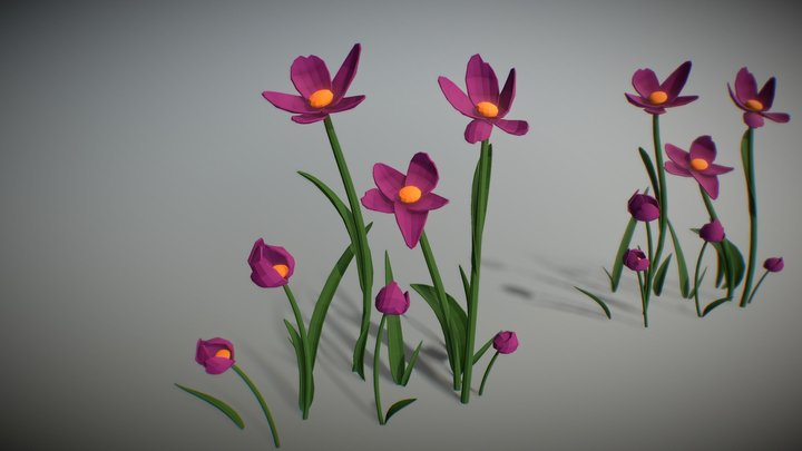 Flower 1 Low Poly 3D Model