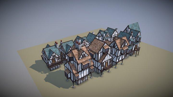 12 Medieval Houses 3D Model