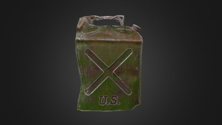 Military Vintage Water Can 3D Model
