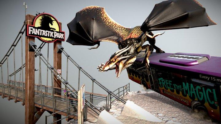 "Fantastic Park ""Free the magic!"" Diorama 3D Model"