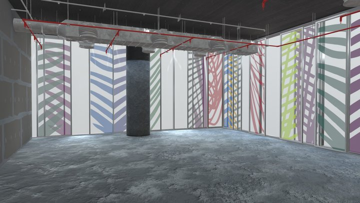 Oficina vacia_Baked light 3D Model