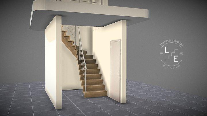 Een gesloten Z-trap met middenbalk 3D Model