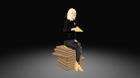 Pizza Girl Game Character 3D Model