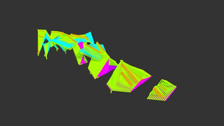 EXPLODED MAQUOKETA BY-WAYS ART PROJECT COLORIZED 3D Model