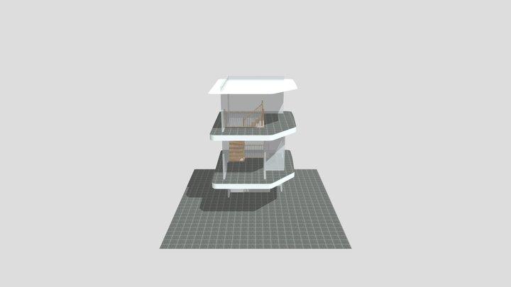 trappenhuis witte keep bomen 3D Model