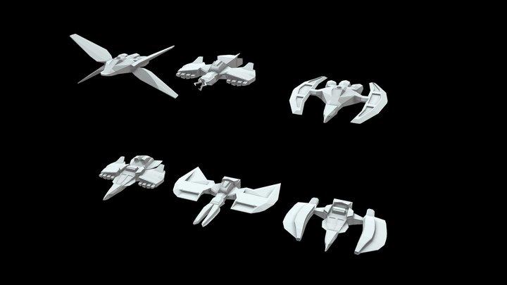 Modular Lowpoly Spaceships 3D Model