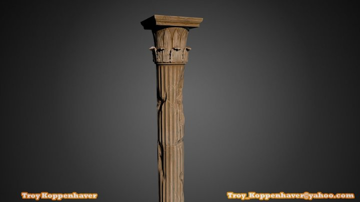 Temple of the Winds Column, Damaged 3D Model