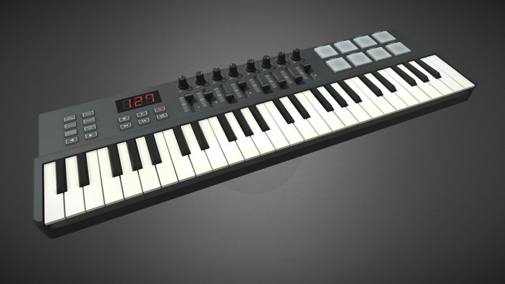 Four octave MIDI Keyboard 3D Model