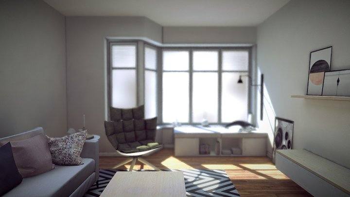 Nordic living room with Vray lighting 3D Model