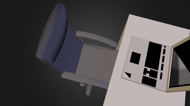 desk and chair.dae 3D Model
