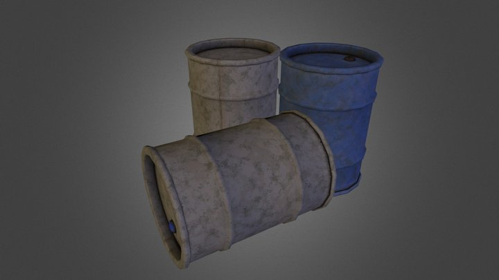 Oil Drums 3D Model