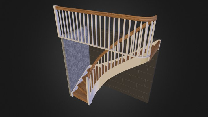 Stair Oak treads 3D Model