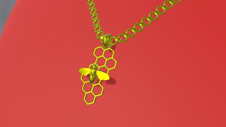 Golden Bee Necklace 3D Model