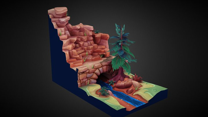 Forest Valley Diorama 3D Model