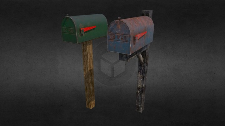 Set of Private Mailboxes 3D Model