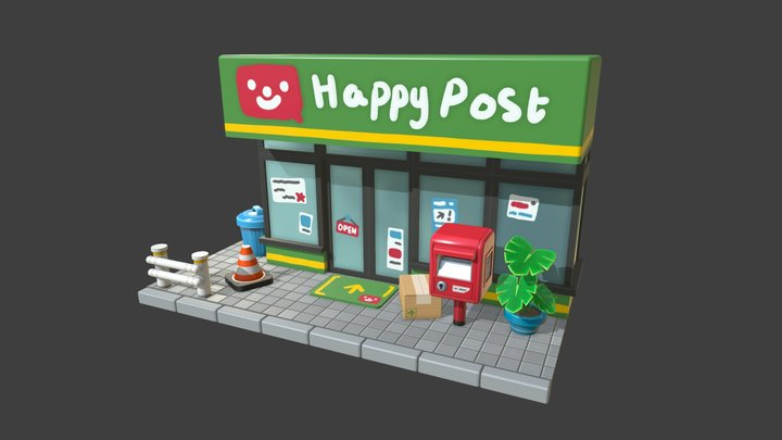 Happy Post Office Diorama 3D Model