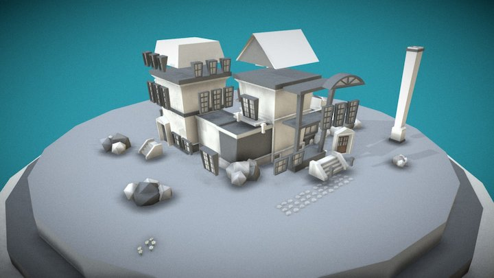 Modular Colonial (low poly) - Bits & Pieces 3D Model