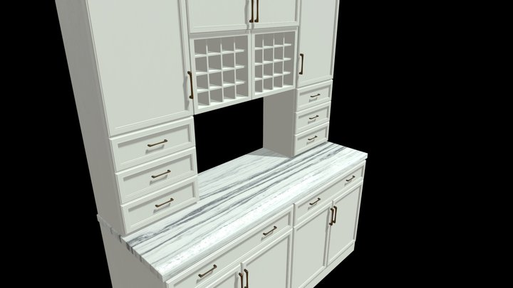 Cabinet Hutch - Montclair Vein Cut 3D Model