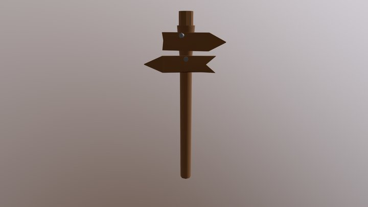 Low poly Road sign 3D Model