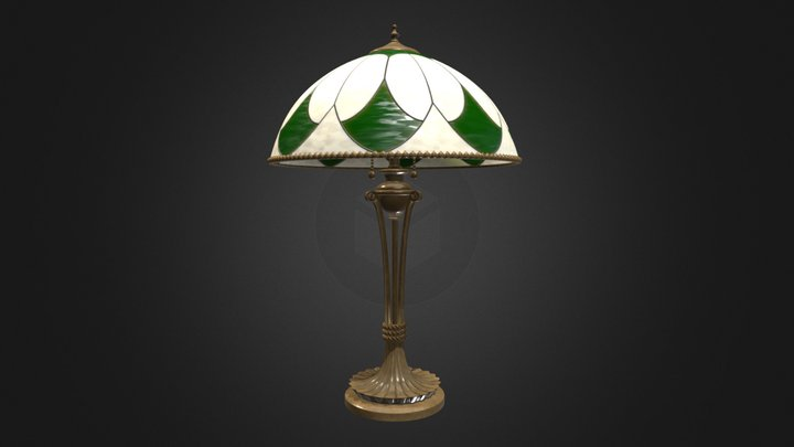 Antique Table Lamp 001 (High Poly) 3D Model
