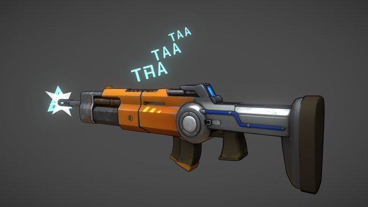 Stylized Assault Rifle (Robotquest fan art) 3D Model