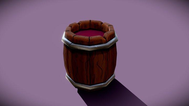 Free lowpoly handpainted Barrel 3D Model