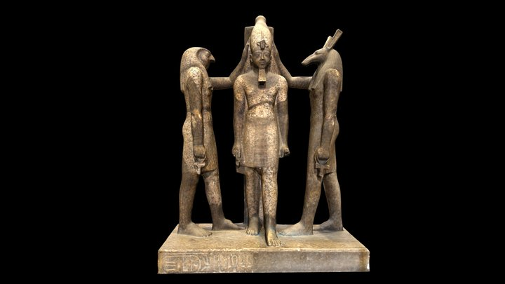 Statue of Ramses III with Horus and Seth 3D Model