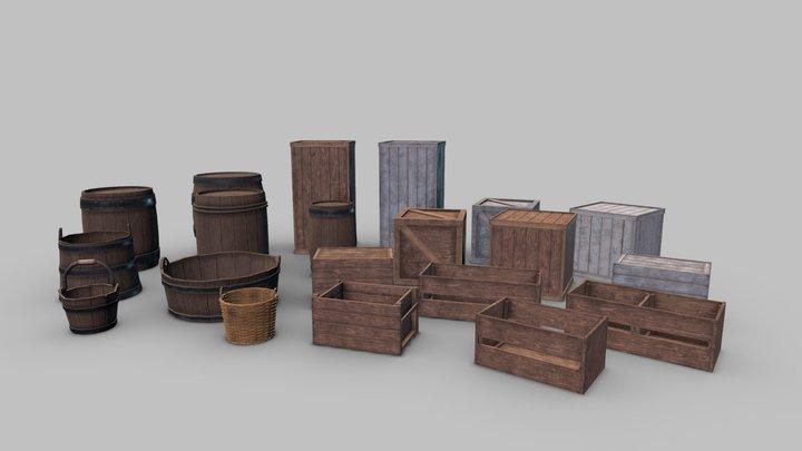wooden medieval props - storage 3D Model