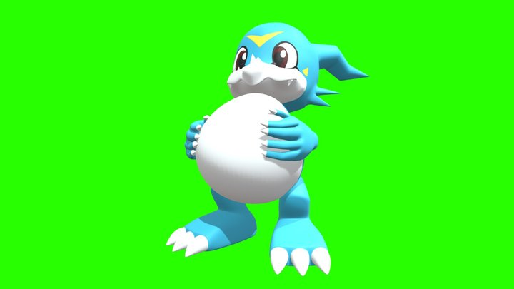 Veemon Pumps Up His Belly! 3D Model