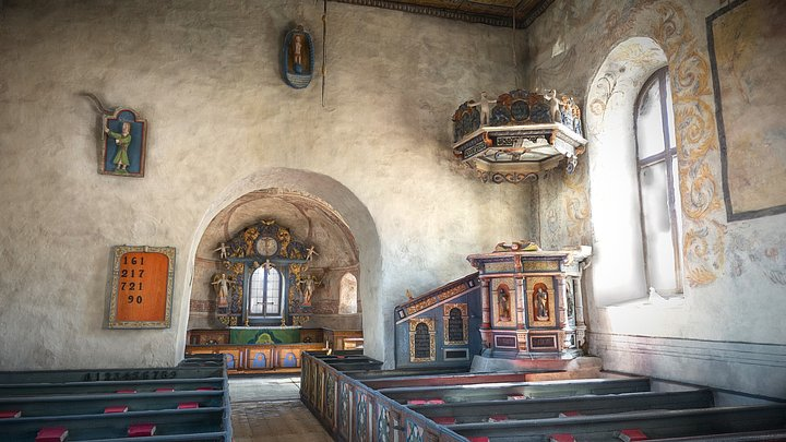 Lannaskede old church interior 3D Model